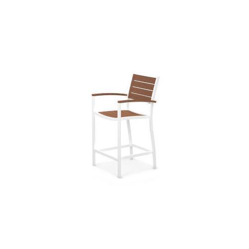 Polywood Furnishings - Eurou2122 Counter Arm Chair in Satin White / Teak