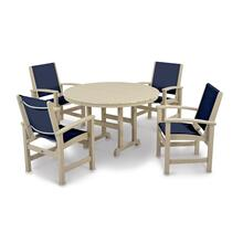 Sand & Navy Blue Coastal 5-Piece Dining Set