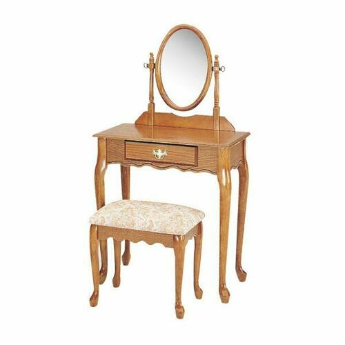 ACME Queen Anne Vanity Set - 02337OAK - Oak