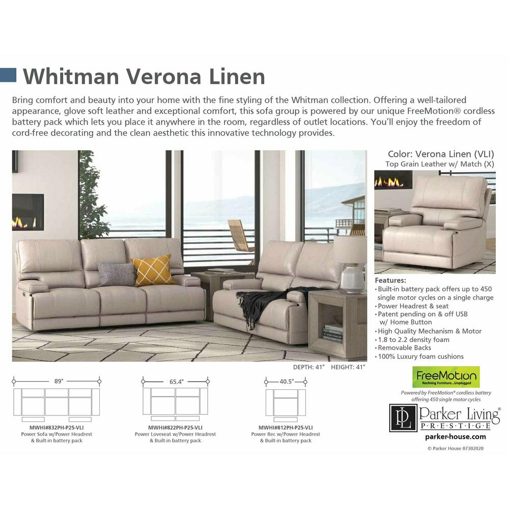 Product Image - WHITMAN - VERONA LINEN - Powered By FreeMotion Power Cordless Sofa