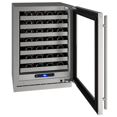 """24"""" Wine Refrigerator With Stainless Frame Finish and Field Reversible Door Swing (115 V/60 Hz Volts /60 Hz Hz)"""