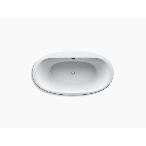 """White 66"""" X 36"""" Oval Freestanding Bath With Fluted Shroud and Center Drain"""