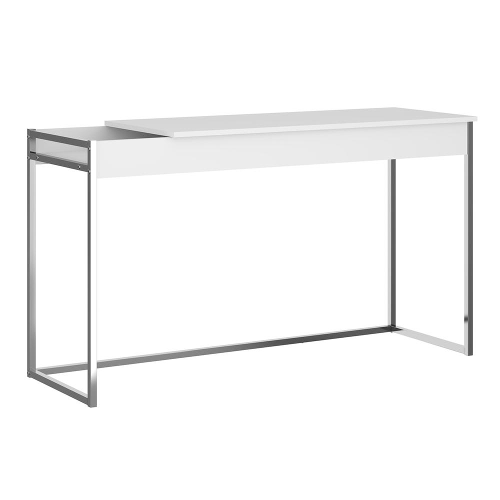 The Noa Office Desk Part Of Our Kd Collection In Matte White With Chromed Metal Frame