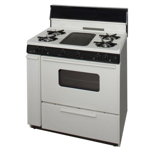 Premier - 36 in. Freestanding Battery-Generated Spark Ignition Gas Range in Biscuit
