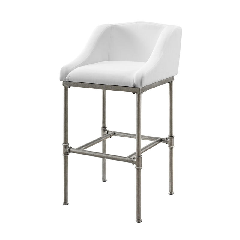 Dillon Metal Counter Height Stool, White Fabric