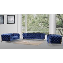View Product - Divani Casa Quincey - Transitional Blue Velvet Sofa Set