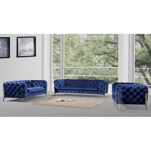 VIG Furniture - Divani Casa Quincey - Transitional Blue Velvet Sofa Set