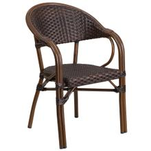 Bark Brown Rattan Restaurant Patio Chair with Red Bamboo-Aluminum Frame