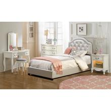 View Product - Karley Complete Full-size Bed, Silver Faux Leather