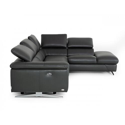 VIG Furniture - Divani Casa Maine - Modern Grey Eco-Leather Right Facing Sectional Sofa with Recliner