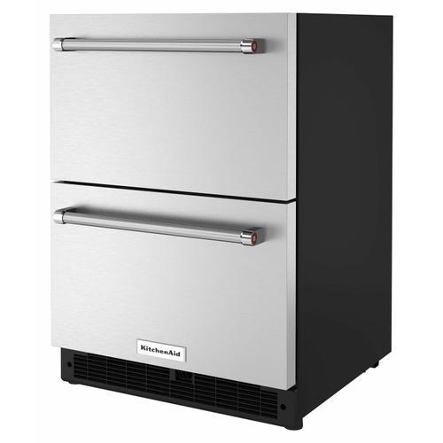 "KitchenAid - 24"" Stainless Steel Undercounter Double-Drawer Refrigerator"