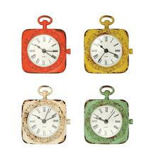 "4""H Pewter Mantel Clock, 4 Colors"