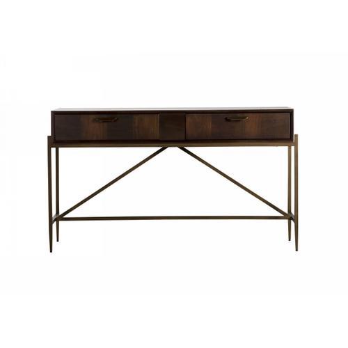 Gallery - Modrest Shane - Modern Acacia & Brass Console Table