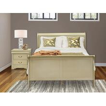 West Furniture Louis Philippe 2 Piece Queen Size Bedroom Set in Metallic Gold Finish with Queen Bed,Nightstand