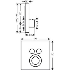 Brushed Bronze Thermostat for concealed installation square for 2 functions