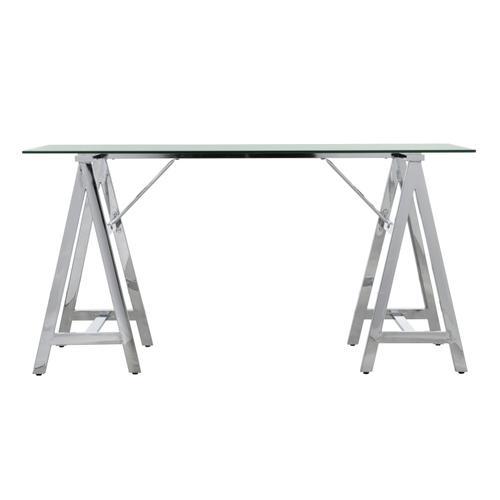 Powell Company - Warren Chrome Trestle Desk Chrome