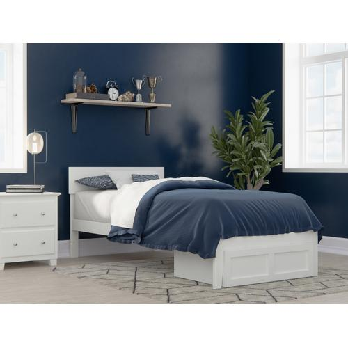 Atlantic Furniture - Boston Twin Extra Long Bed with Foot Drawer in White