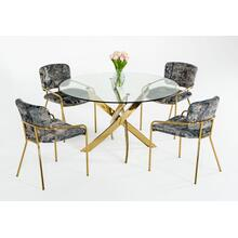 View Product - Modrest Pyrite - Modern Round Glass Dining Table
