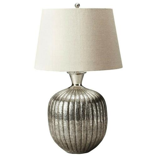 Butler Specialty Company - This distinctive table lamp will brilliantly light any space. Featuring an antique nickel finish, it is hand crafted from aluminum with an iron harp and linen shade.