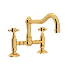 See Details - Acqui Deck Mount Column Spout Bridge Kitchen Faucet - Italian Brass with Cross Handle