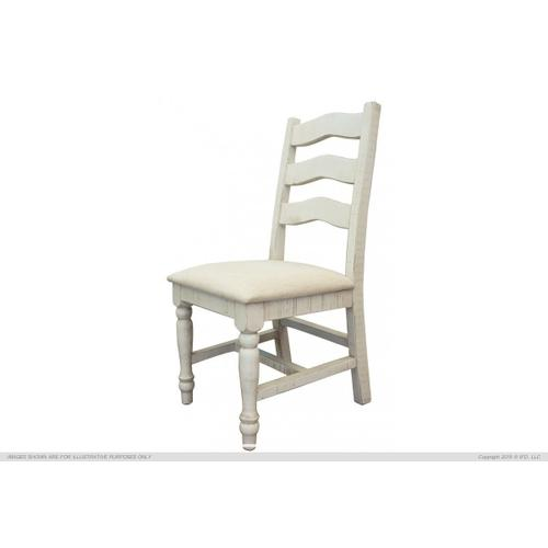 International Furniture Direct - Solid Wood Chair w/fabric seat Ivory Finish