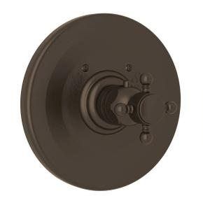 Thermostatic Trim Plate without Volume Control - Tuscan Brass with Cross Handle