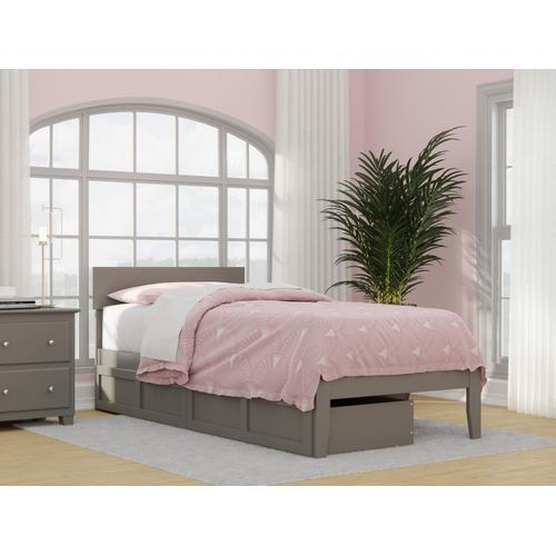 Atlantic Furniture - Boston Twin Extra Long Bed with 2 Extra Long Drawers in Grey