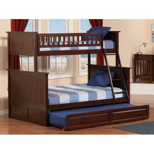 Nantucket Bunk Bed Twin over Full with Raised Panel Trundle Bed in Walnut
