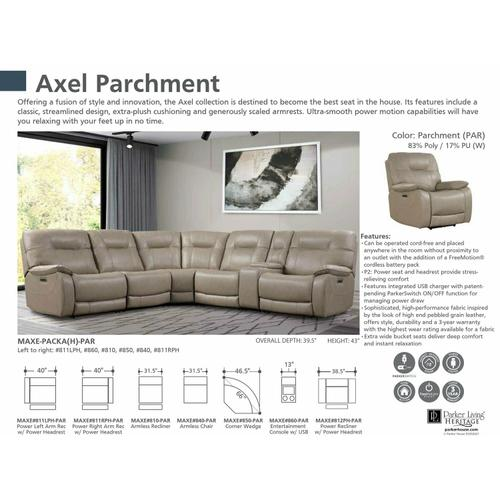 Parker House - AXEL - PARCHMENT Power Right Arm Facing Recliner