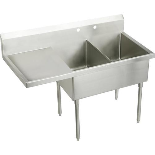 """Product Image - Elkay Weldbilt Stainless Steel 79-1/2"""" x 27-1/2"""" x 14"""" Floor Mount, Double Compartment Scullery Sink with Drainboard"""