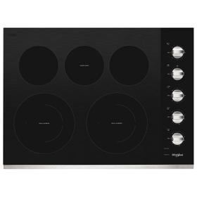 30-inch Electric Ceramic Glass Cooktop with Two Dual Radiant Elements Stainless Steel