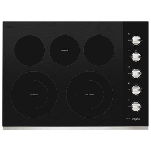 Whirlpool - 30-inch Electric Ceramic Glass Cooktop with Two Dual Radiant Elements Stainless Steel