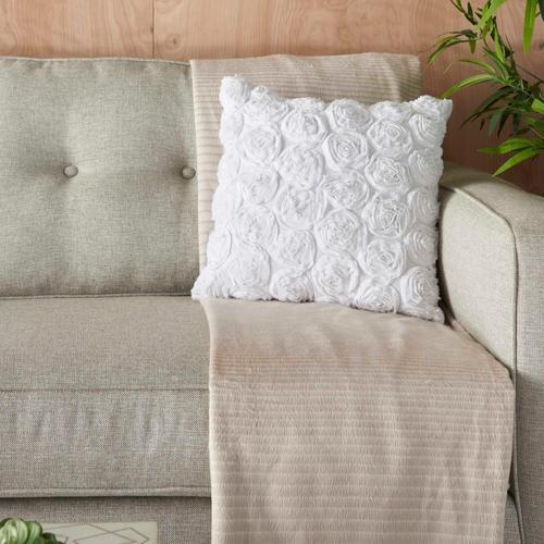 """Life Styles L0163 White 17"""" X 17"""" Throw Pillow"""