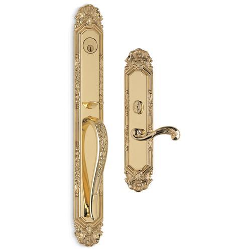 Exterior Ornate Mortise Entrance Handleset Lockset in w/ 251 interior trim (Exterior Ornate Mortise Entrance Handleset Lockset - Solid Brass)