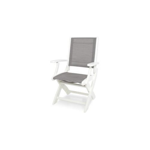 Polywood Furnishings - Coastal Folding Chair in White / Metallic Sling