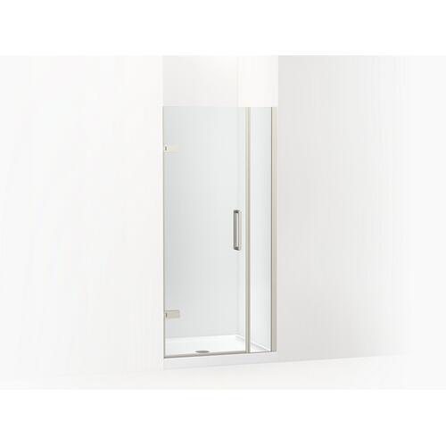 """Kohler - Anodized Brushed Nickel Frameless Pivot Shower Door, 71-9/16"""" H X 33-5/8 - 34-3/8"""" W, With 3/8"""" Thick Crystal Clear Glass"""