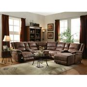 ACME Zanthe II Sectional Sofa (Motion) - 51445 - 2-Tone Brown Padded Suede Product Image