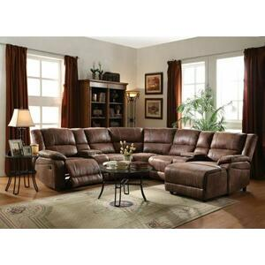 ACME Zanthe II Sectional Sofa (Motion) - 51445 - 2-Tone Brown Padded Suede
