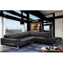 View Product - Accenti Italia Lazio - Italian Black Leather Right Facing Sectional Sofa