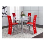 Valencia 5pc White Pub Set W/red Stools Product Image