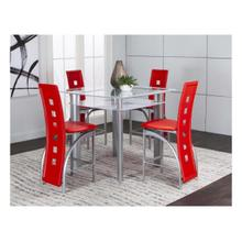 Valencia 5pc White Pub Set W/red Stools