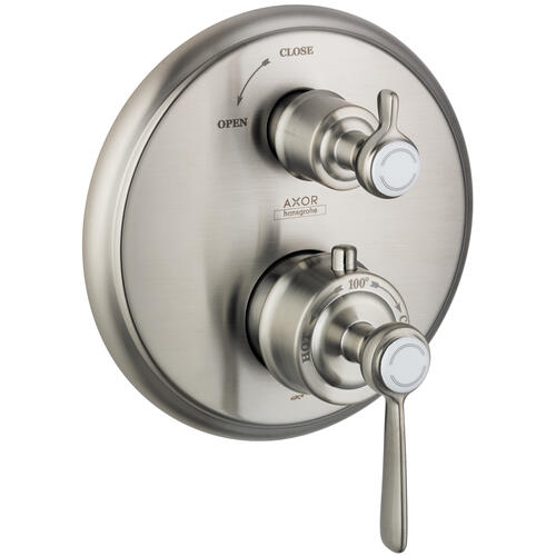Brushed Nickel Thermostat for concealed installation with lever handle and shut-off valve