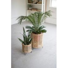 See Details - set of 2 woven rush and iron baskets