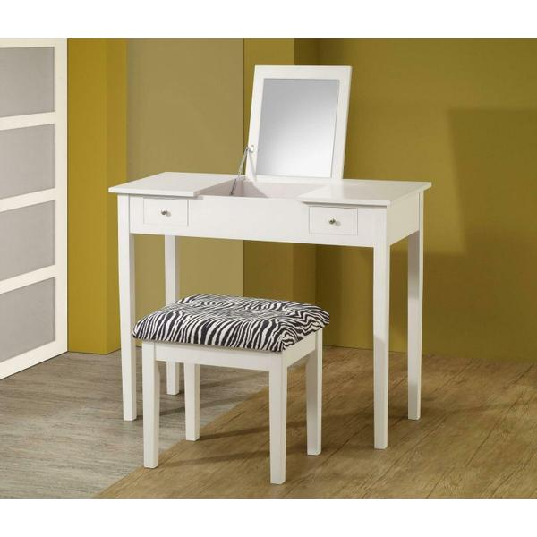 See Details - Casual White Vanity and Upholstered Stool