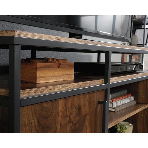 Sauder - Industrial Metal & Wood TV Stand With Storage