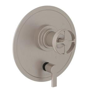 Campo Pressure Balance Trim with Diverter - Satin Nickel with Industrial Metal Wheel Handle