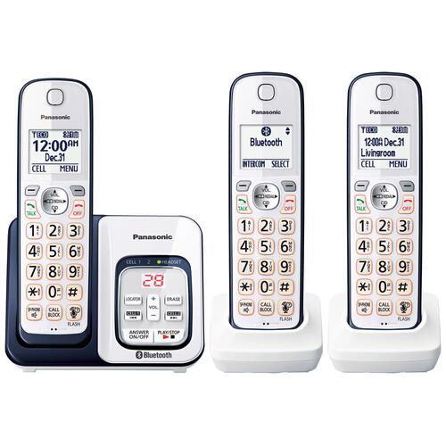 Link2Cell Bluetooth® Cordless Phone with Voice Assist and Answering Machine - 3 Handsets - KX-TGD563A
