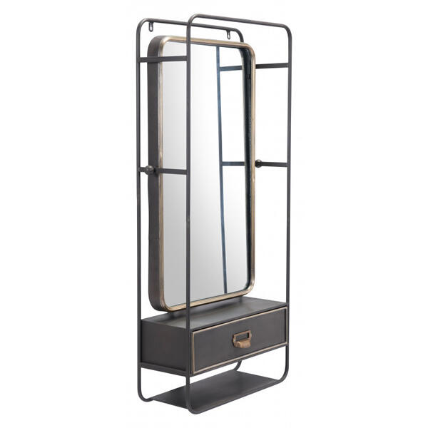Industrial Storage Mirror Gunmetal & Gold