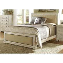 Queen Complete Upholstered Bed - Distressed White Finish