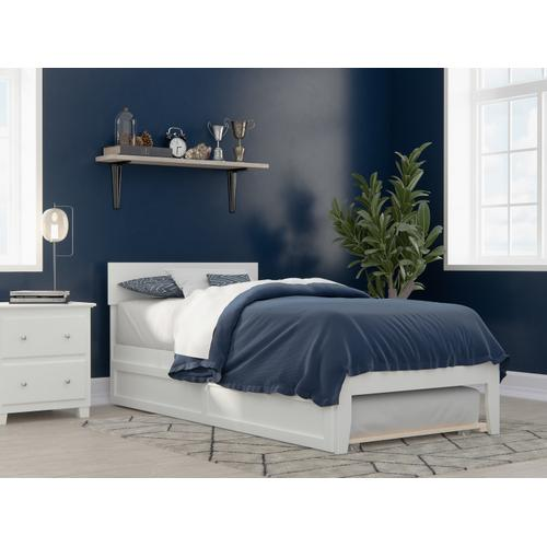 Atlantic Furniture - Boston Twin Extra Long Bed with Twin Extra Long Trundle in White